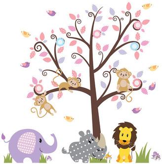 Walldecalsource Nursery Wall Decal - Animal Wall Decal - Vinyl Wall Tree