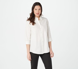 Joan Rivers Classics Collection Joan Rivers 3/4-Sleeve Button Front Shirt w/ Tiered Back Ruffles