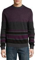 Neiman Marcus Pencil-Stripe Crewneck Sweater, Shadow