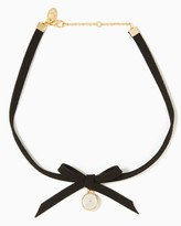 Charming charlie Suede Bow Choker Necklace