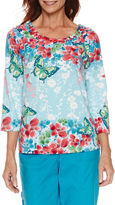 Alfred Dunner Tropical Vibe Short Sleeve Floral Border T-Shirt