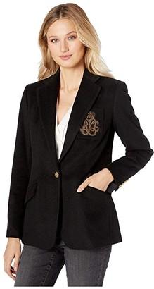 Lauren Ralph Lauren Bullion-Patch Blazer (Polo Black) Women's Clothing