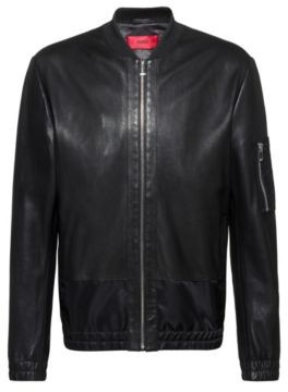 HUGO BOSS Slim Fit Nappa Leather Bomber Jacket With Tonal Contrasts - Black