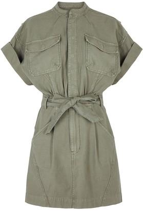 Frame Twisted dark green cotton mini dress