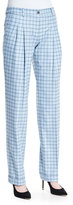 Michael Kors Pleated-Front Slouch Trousers, Ice/White/Multi
