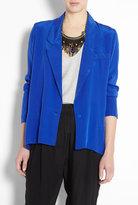 Sapphire Blue Silk Swing Oversized Blazer