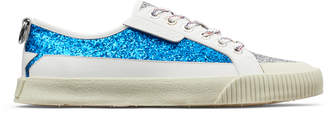 Jimmy Choo IMPALA/LO/M Red and Pop Blue Galactica Glitter Fabric Patchwork and Soft Leather Low Top Trainers