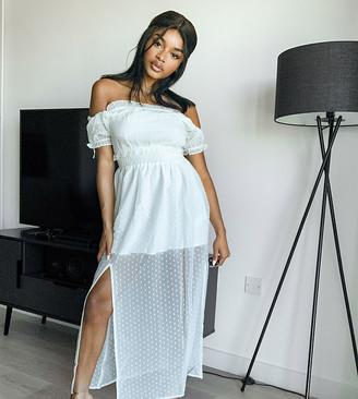 Miss Selfridge Petite dobby mesh bardot maxi dress in ivory