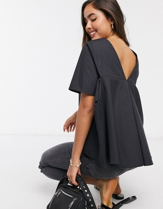 ASOS DESIGN short sleeve cotton top with pleat back detail in black