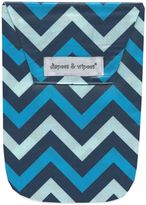 Diapees & Wipees Laminated Storage Bag with Wipes Case in Blue Chevron