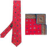 Etro Christmas print tie and pocket square set - men - Silk - One Size