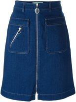 Stella McCartney zip detail denim skirt - women - Cotton/Spandex/Elastane - 40