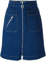 Stella McCartney zip detail denim skirt