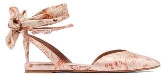 Tabitha Simmons X Johanna Ortiz Vera Floral Print Satin Flats - Womens - Pink Multi