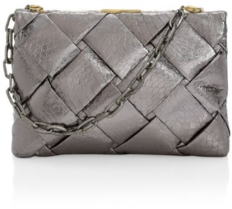 Nancy Gonzalez Small Woven Snakeskin Frame Clutch