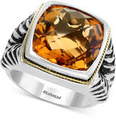 Effy Final Call by Men's Citrine Ring (9 ct. t.w.) in Sterling Silver & 18K Gold