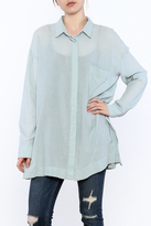 Heather Oversize Twill Button-Down