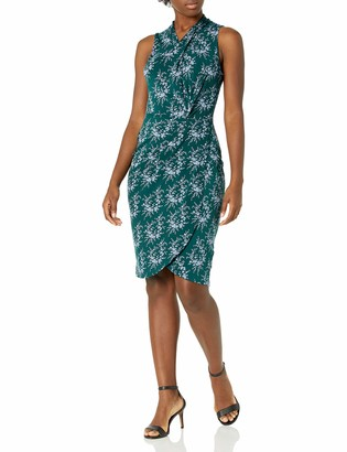 Lark & Ro Amazon Brand Women's Sleeveless Crossover Twist Neck Faux Wrap Dress