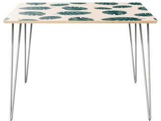 """Wrought Studioâ""""¢ Poteau Dining Table Wrought Studioa Table Top Color: Natural, Table Base Color: Chrome"""