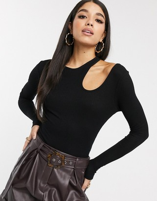 NA-KD Na Kd cut-out detail long sleeve top in black