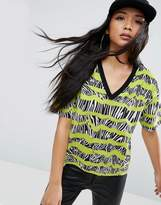 Asos T-Shirt With V-Neck In 80s Scribble Stripe