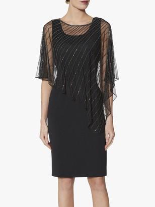 Gina Bacconi Keeley Beaded Cape Dress