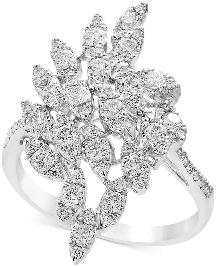 Effy Pave Rose by Diamond Cluster Statement Ring (9/10 ct. t.w.) in 14k White Gold