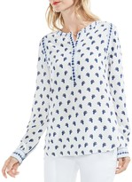 Vince Camuto Mixed-Print Henley Blouse