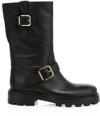 Jimmy Choo Biker II Leather Mid-Calf Boots