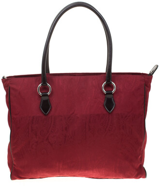 Etro Red Paisley Canvas Shopper Tote