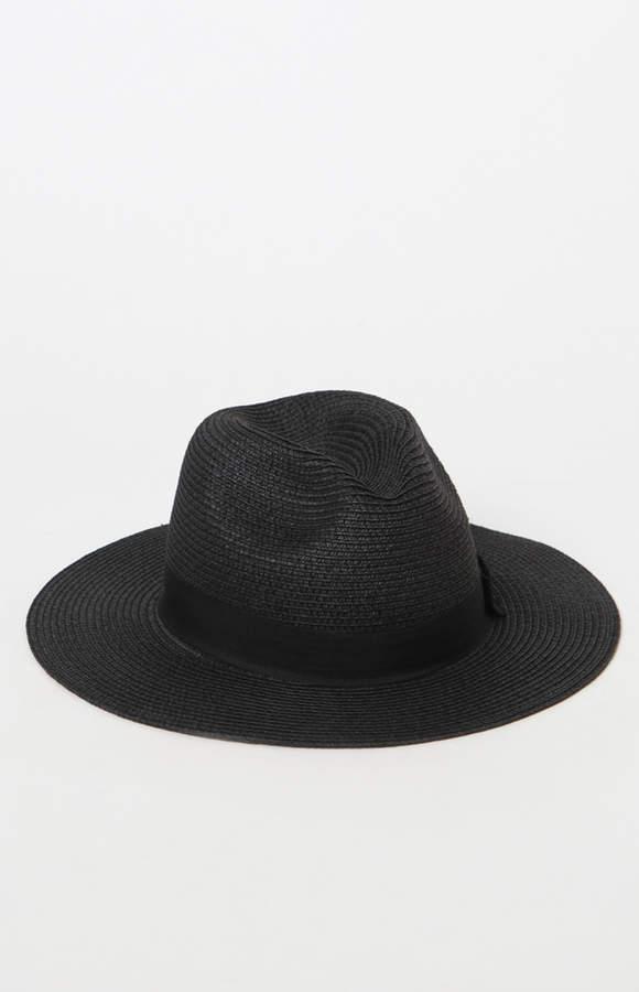 La Hearts Basic Black Straw Fedora Hat