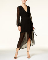 Bardot Sheer Illusion High-Low Wrap Dress