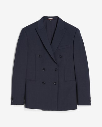 Express Slim Navy Double Breasted Modern Tech Suit Jacket