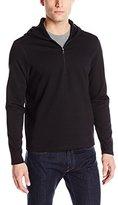 Calvin Klein Men's Solid Ponte 1/4 Zip Hooded Sweatshirt