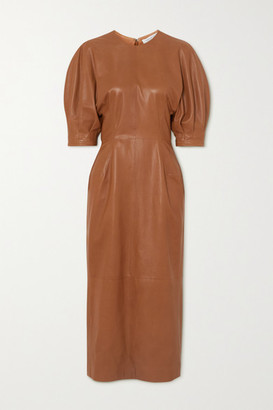 Gabriela Hearst Coretta Leather Midi Dress - Camel