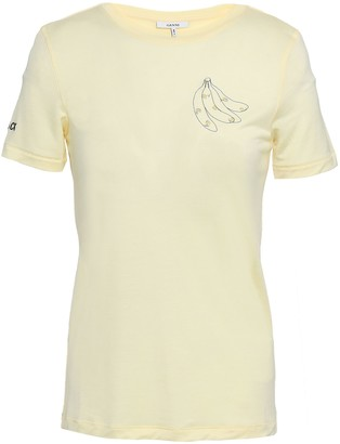 Ganni Linfield Embroidered Printed Jersey T-shirt