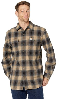 Carhartt Original Fit Flannel Long Sleeve Plaid Shirt (Black) Men's Clothing