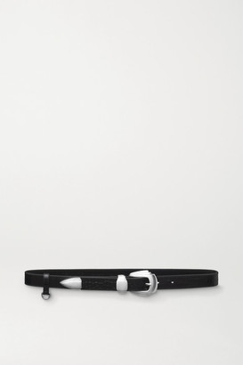 Kate Cate Croc-effect Leather Belt - Black