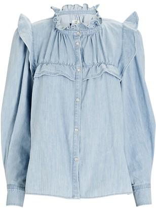 Etoile Isabel Marant Idety Ruffled Button-Down Blouse
