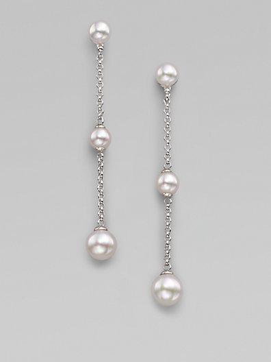 Majorica 6MM-8MM White Pearl & Sterling Silver Drop Earrings
