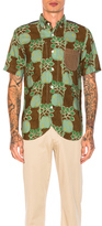 Junya Watanabe Cupra Modal Voile Print & Cotton Stripe Shirt in Brown,Green,Floral.
