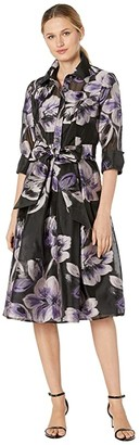 Tahari ASL Cocktail Shirtdress (Black/Blush Floral) Women's Clothing