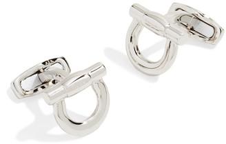 Salvatore Ferragamo Silver Nickel Flip Gancio Cufflinks