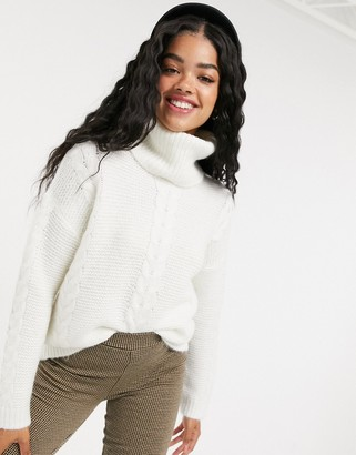 Pimkie roll neck cable knit jumper in white