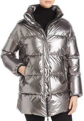 Herno Laminar Funnel-Collar Metallic Down Coat