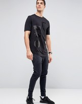 Religion Longline T-shirt With Absract Silk Patch Detail