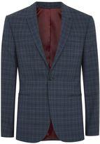 Topman Blue Tonal Check Skinny Suit Jacket