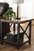 Wholesale Interiors Herzen Rustic Industrial Style Antique Black Textured Finished Metal Distressed Wood Occasional End Table