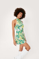 Thumbnail for your product : Nasty Gal Womens Floral Print High Neck Jersey Dress - Green - 6