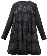 Merlette New York Soliman Sunburst-embroidered Cotton-blend Dress - Womens - Black